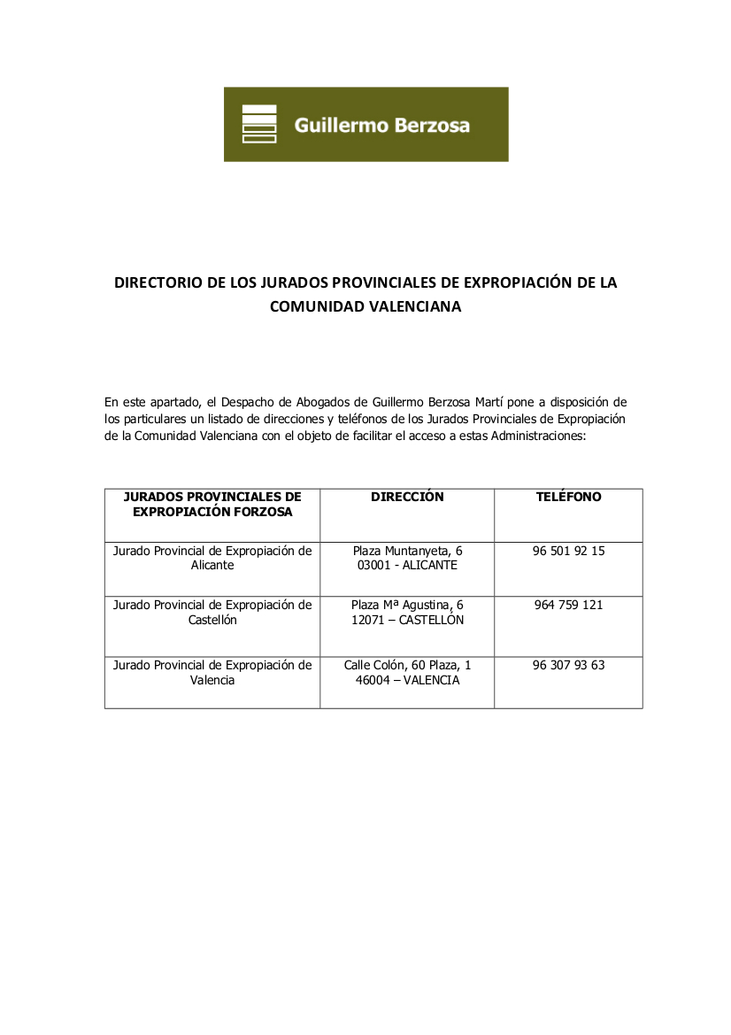 Directorio de teléfonos del Jurado - Valencia
